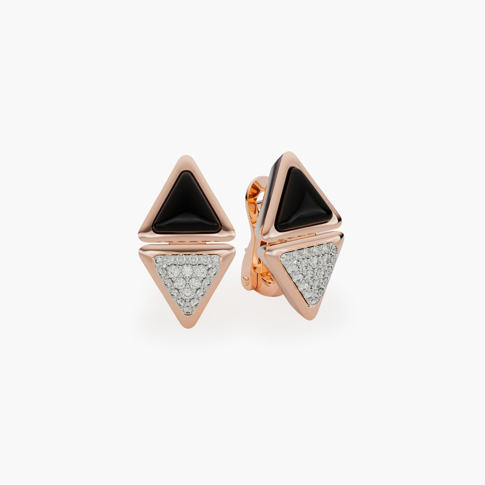 Earrings Short Mirror Exquisite Rose Gold Onix and Diamonds