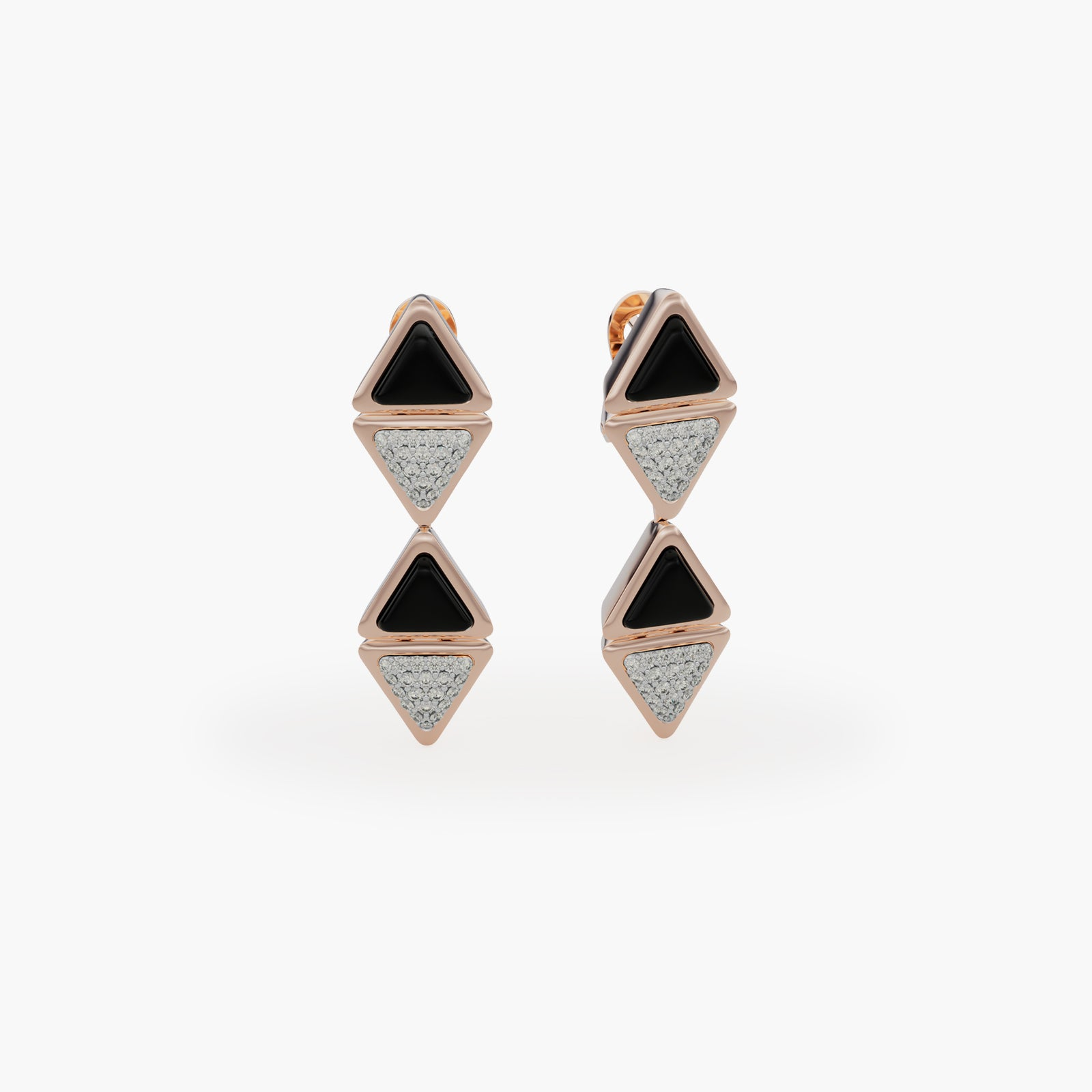 Earrings Mid Mirror Exquisite Rose Gold Onix and Diamonds