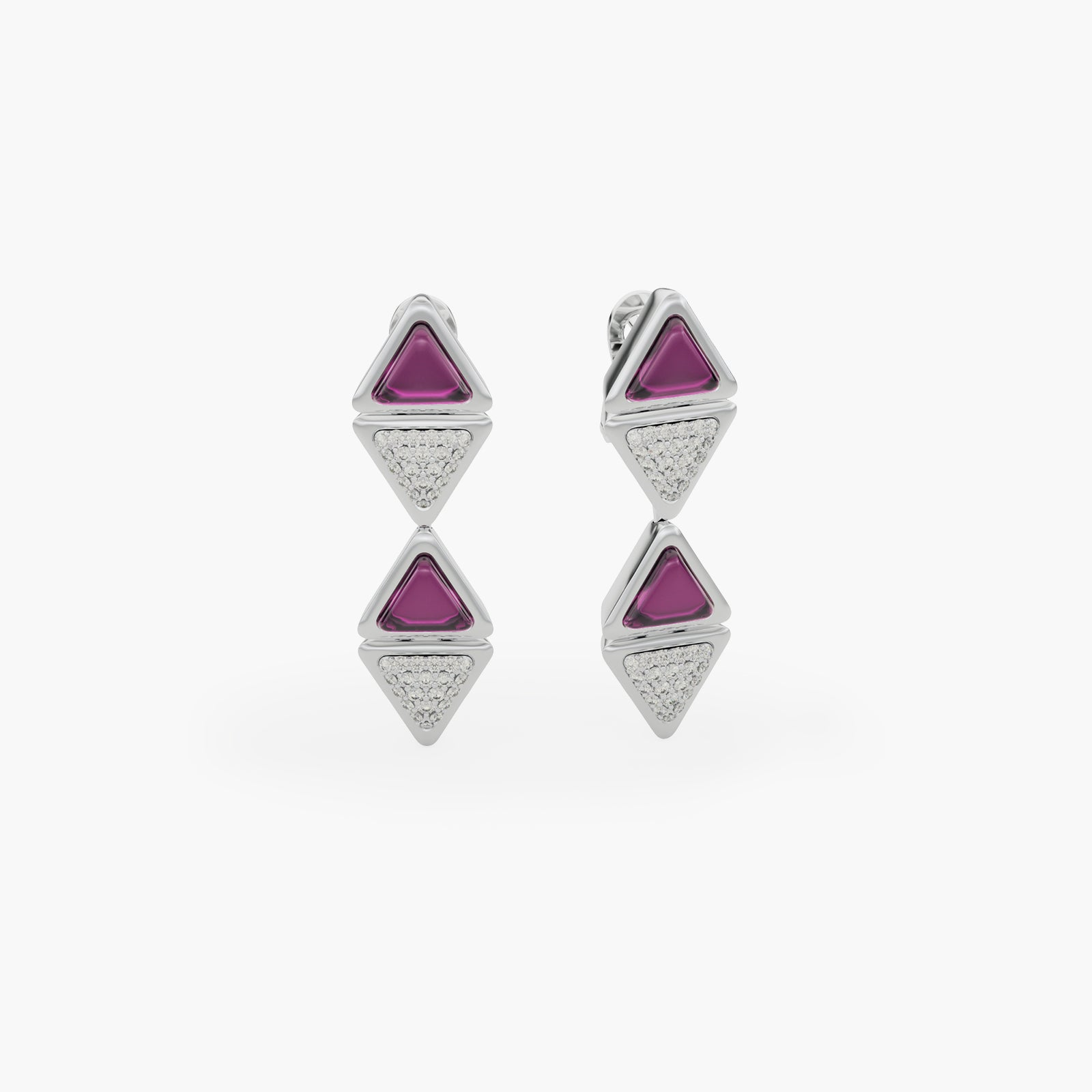 Earrings Mid Mirror Exquisite White Gold Pink Garnet and Diamonds