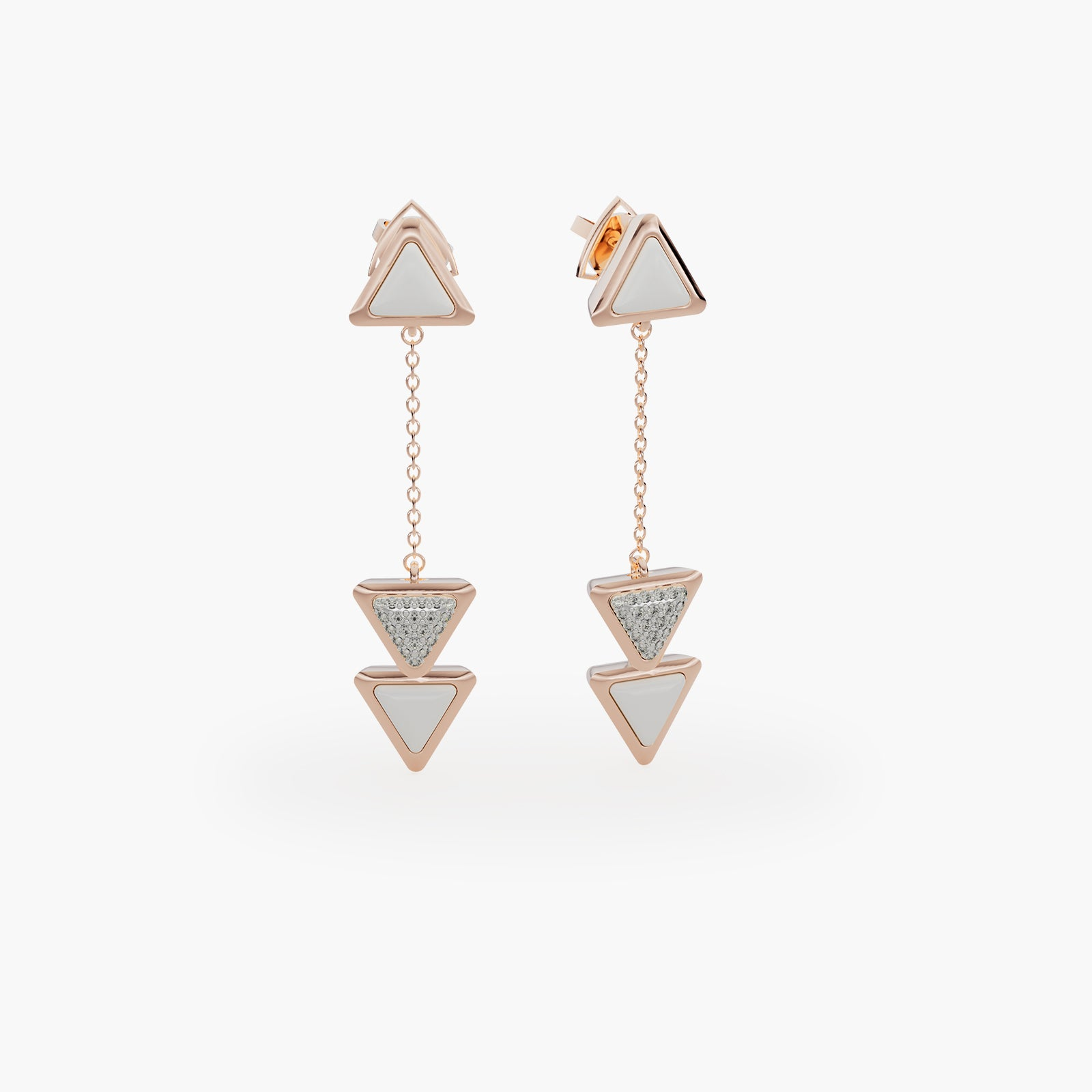 Earrings Dove Vai Rewind Exquisite Rose Gold Kogolong and Diamonds