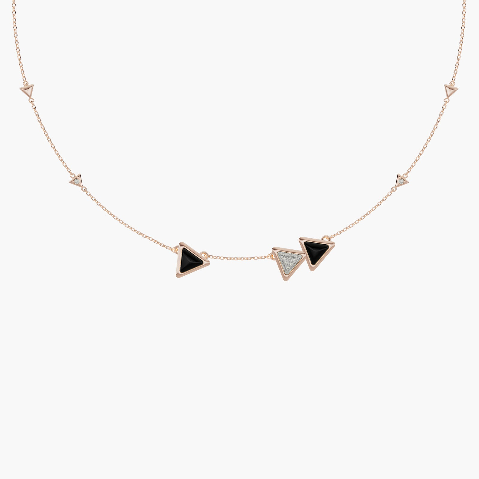 Necklace Dove Vai Forward Exquisite Rose Gold Onix and Diamonds