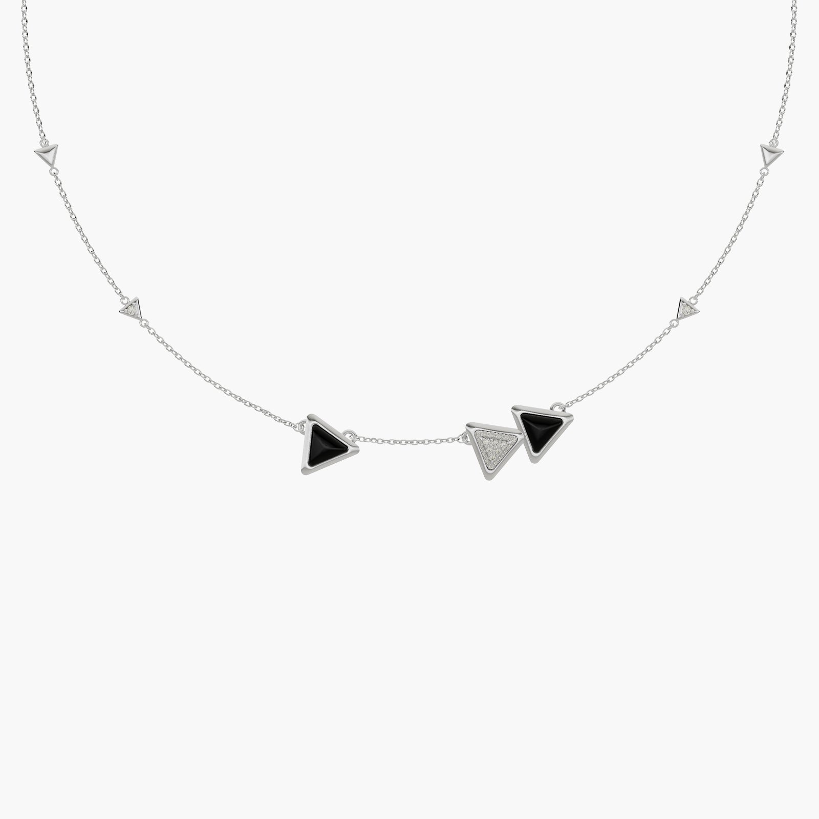 Necklace Dove Vai Forward Exquisite White Gold Onix and Diamonds
