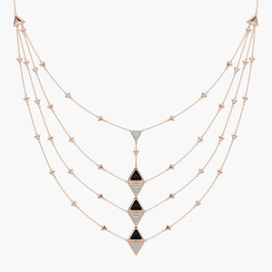 Collana Multi Mirror Exquisite Oro Rosa Onice e Diamanti