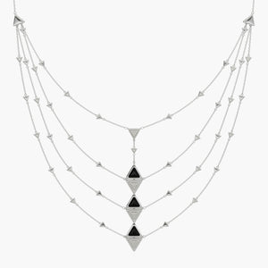 Necklace Multi Mirror Exquisite White Gold Onix and Diamonds
