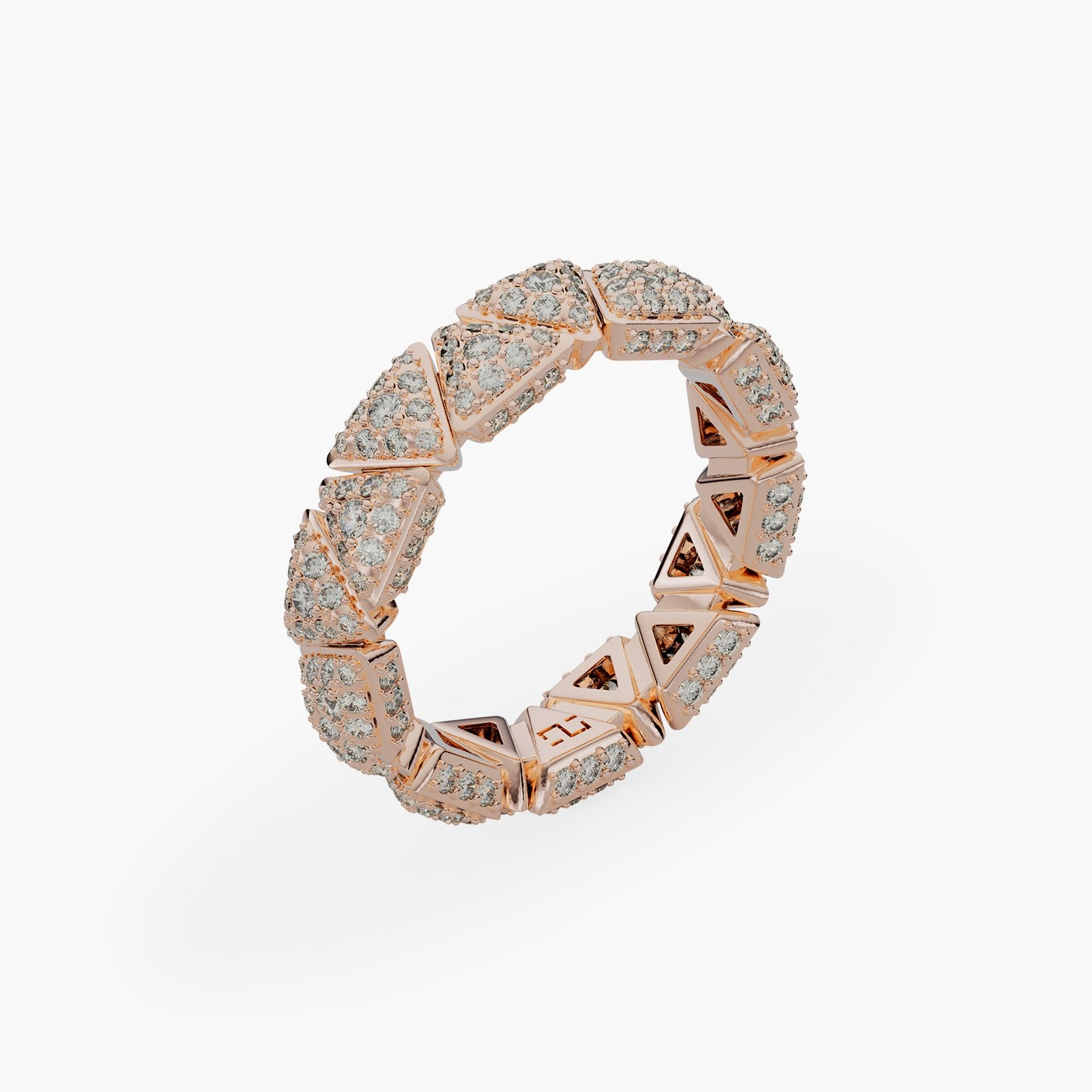 Ring Engagement Anniversary Rose Gold Full Diamonds Pavé