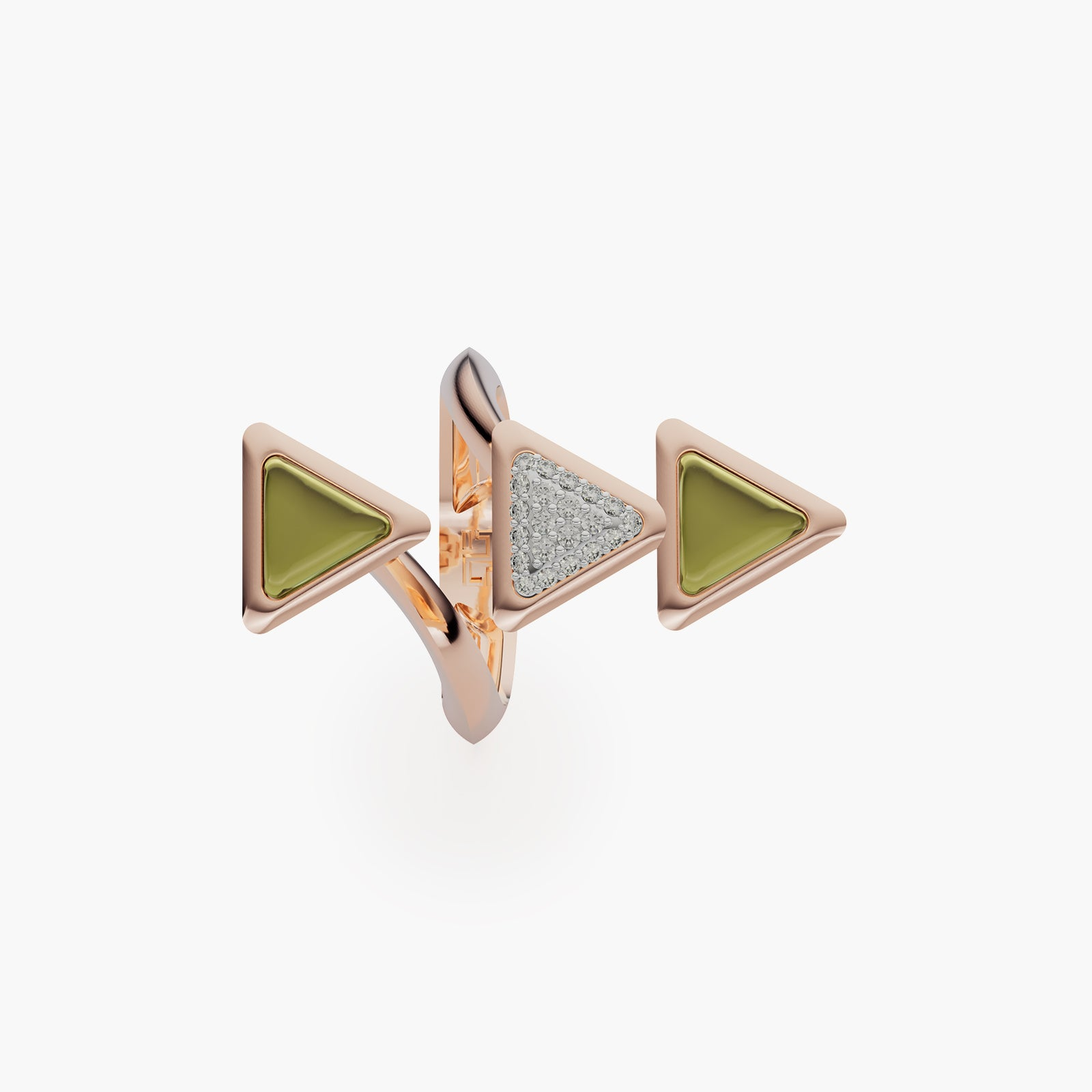 Ring Dove Vai Forward Exquisite Rose Gold Green Tourmaline and Diamonds
