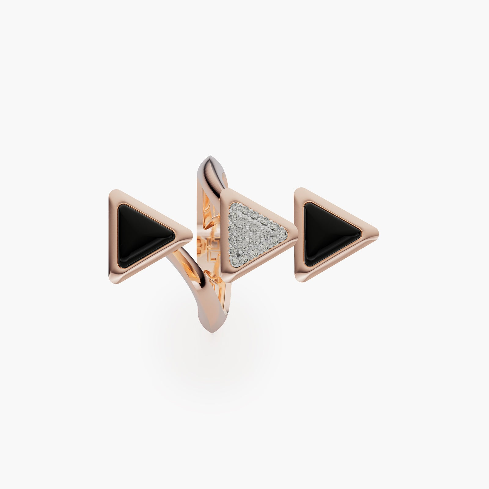 Ring Dove Vai Forward Exquisite Rose Gold Onix and Diamonds
