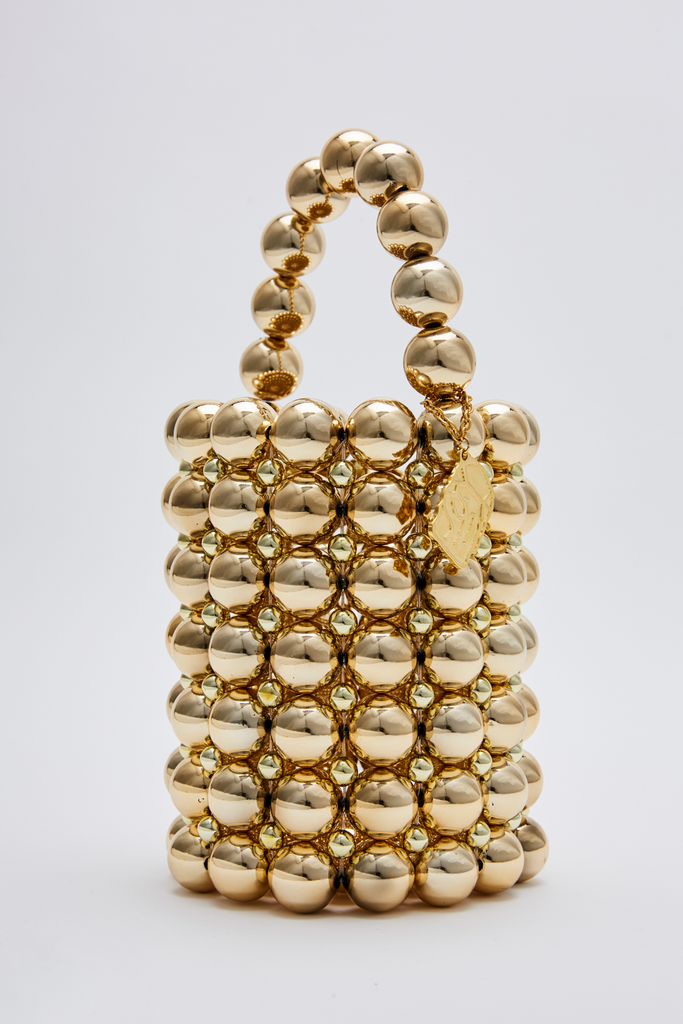 Gold beads bucket bag