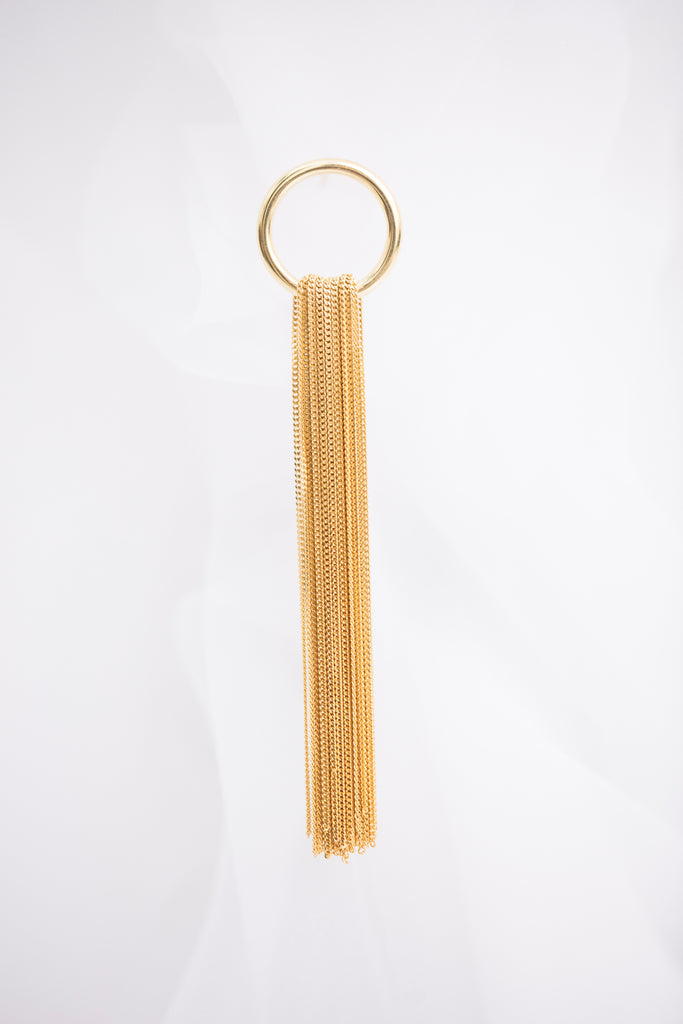 Golden Chain Earring / Brooch, Round Shape