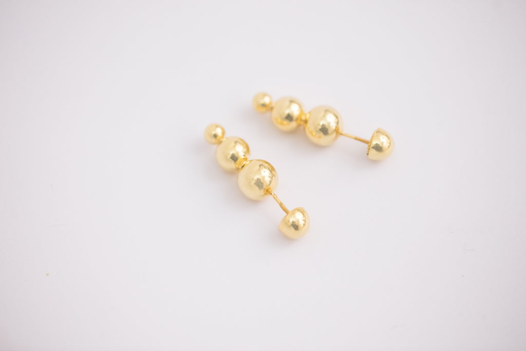 Golden Beads Earring / Brooch, Three