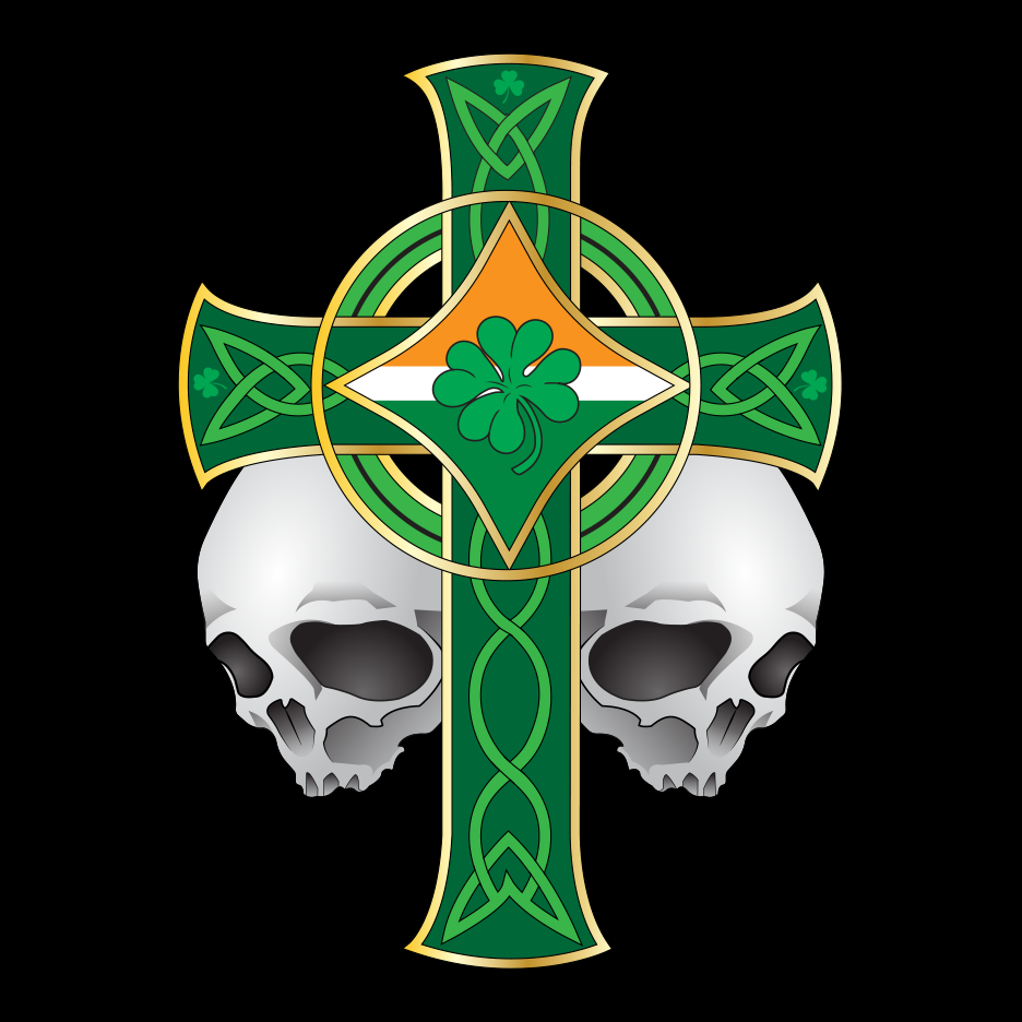 Irish Celtic Skulls Cross T Shirt