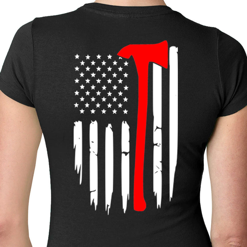 Firefighter Flag Tee-Firefighter Gift