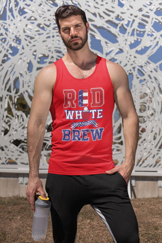 Red White and Brew Tank Top - 4th of July Tank Top