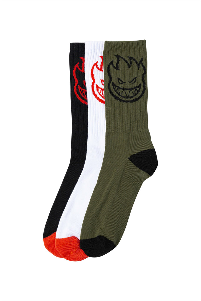Spitfire - Bighead 3-Pack Socks White/Black/Olive