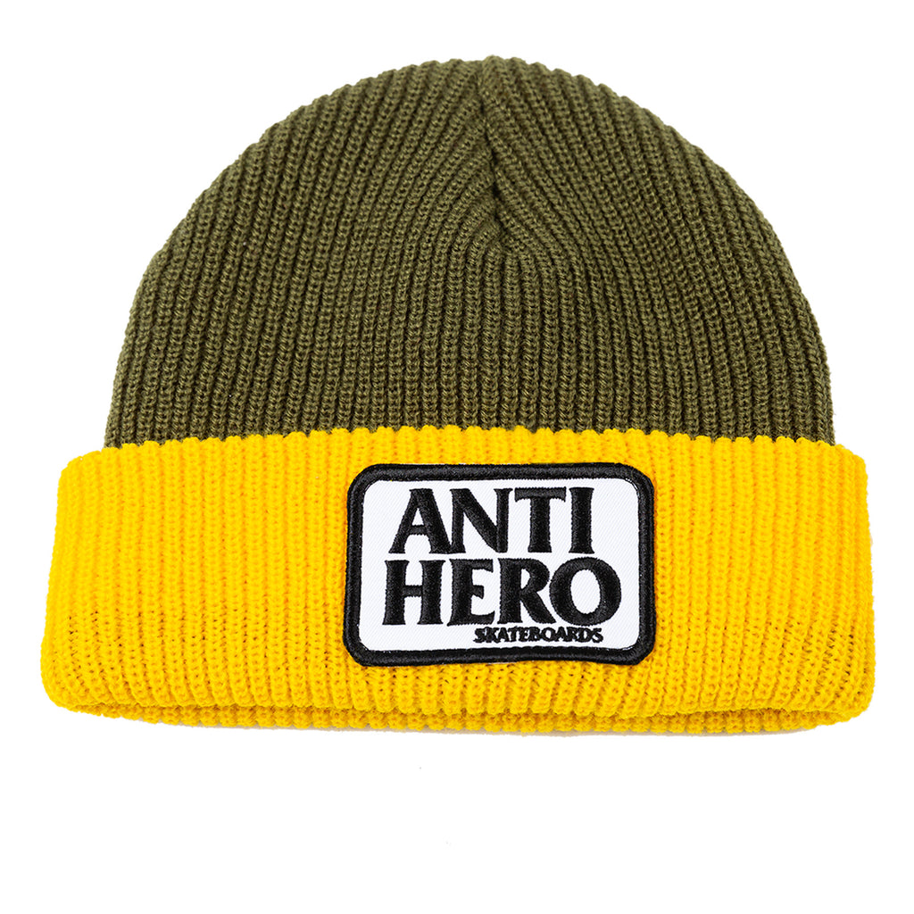 Antihero - Reserve Patch Cuff Beanie Olive/Yellow