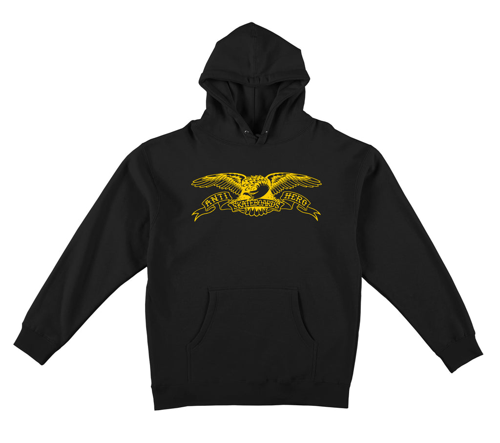 Antihero - Basic Eagle Pullover Hood Black/Yellow
