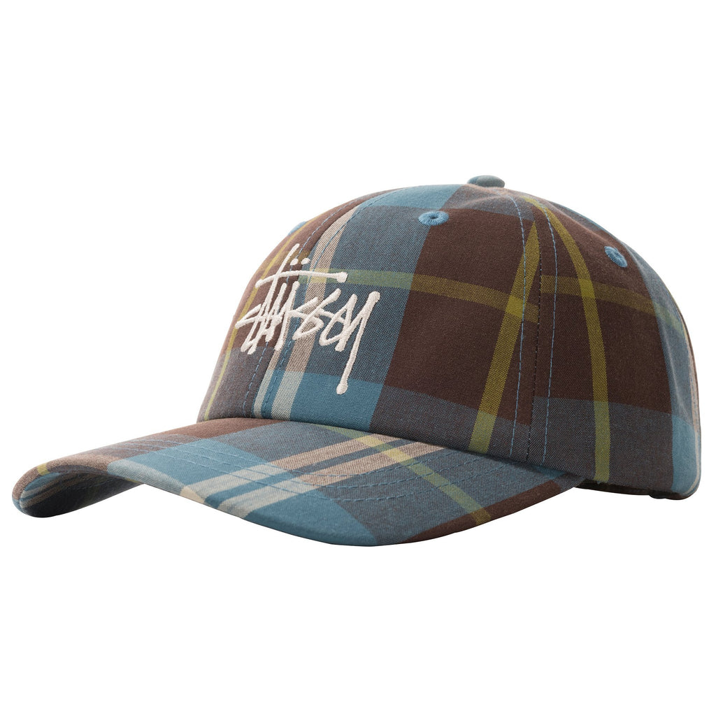 Stüssy - Big Logo Madars Plaid Low Pro Cap Blue, Caps, Stüssy, My Favorite Things