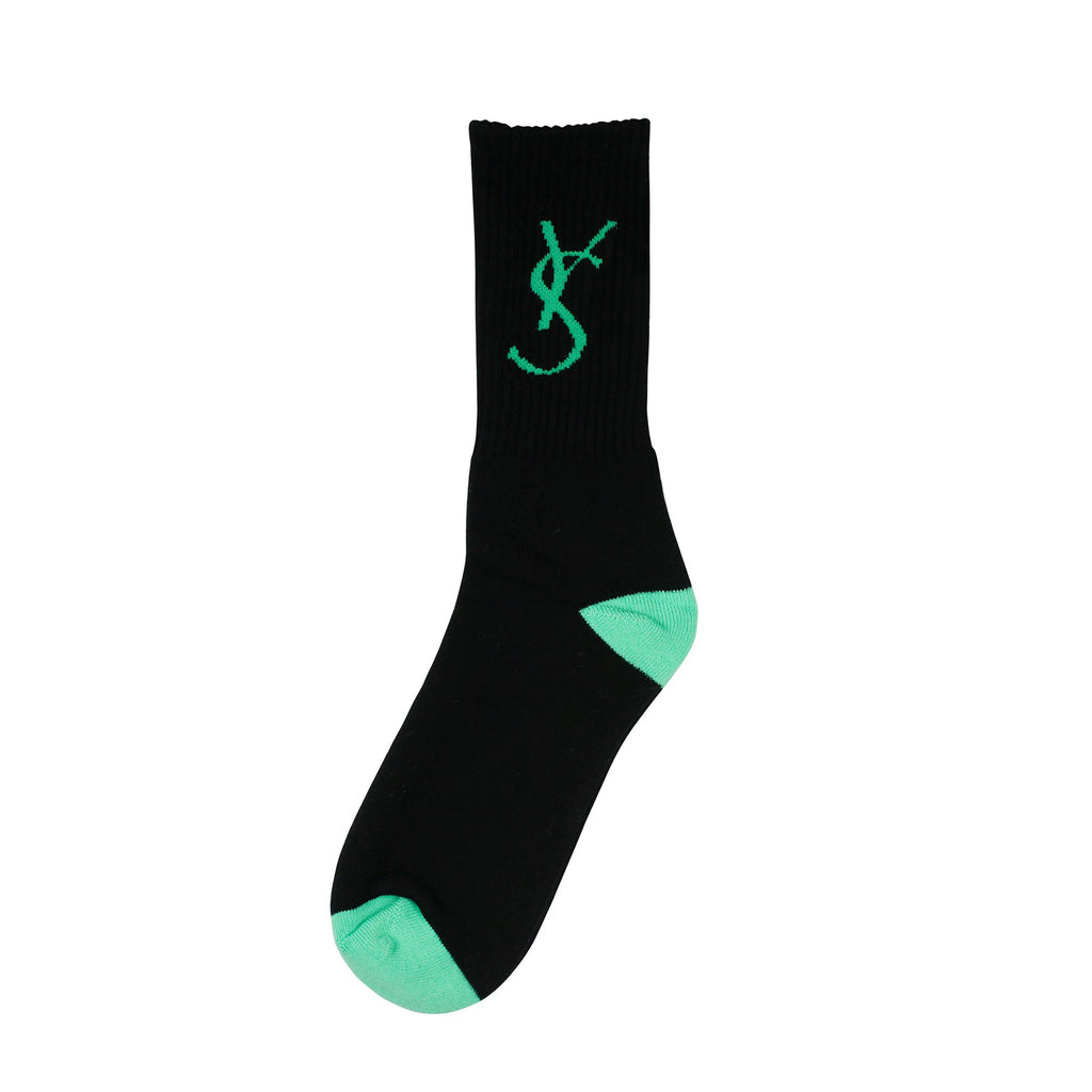 Yardsale - YS Script Socks Black/Green, Socks, Yardsale, My Favorite Things