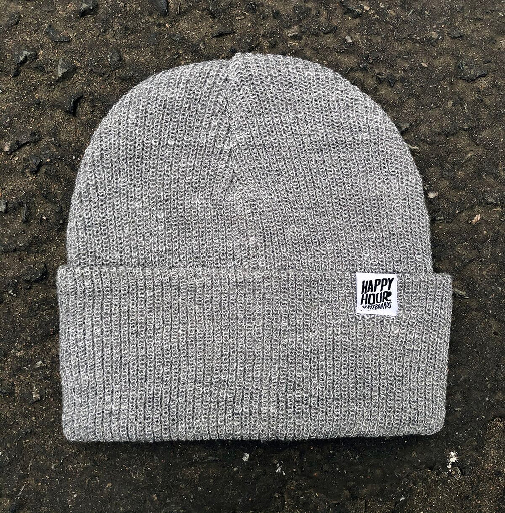 Happy Hour Beanie Grey/White, Beanies, Happy Hour Skateboards, My Favorite Things