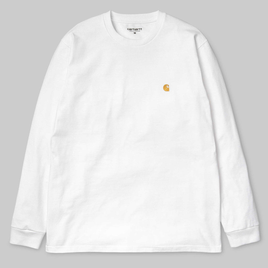 Carhartt L/S Chase T-Shirt White / Gold - My Favorite Things