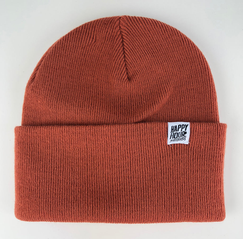 Happy Hour Skateboards Beanie Orange Rust/White - My Favorite Things