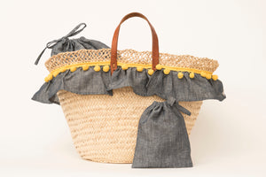 Basket with jeans