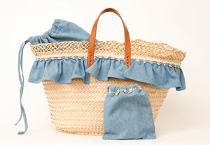 Basket with light jeans