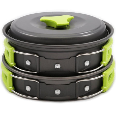 Lightweight Camping Cookware Mess Kit Backpacking Gear Hiking Outdoors Bug Out Bag Cooking Equipment 10 Piece Cookset Bowls