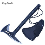 King Sea Outdoor Axe Fire Ice Army High Carbon Steel Tactical Tomahawk Practical Axe Nylon and Fiberglass Handle Camping Hatchet