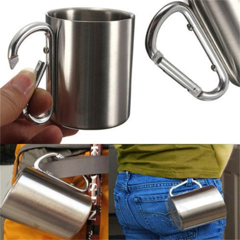 OUTAD 180ml Stainless Steel Cup Camping Traveling Outdoor Cup Double Wall Mug with Carabiner Hook Handle