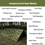 1pcs Emergency Blanket Survival Gear Mylar Camo Wooldand White Survival Thermal Blankets foroutdoors Hiking Marathon Bug Out Bag