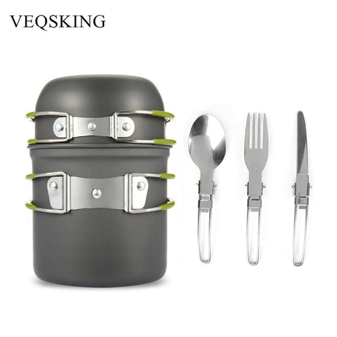 Aluminum Alloy Hiking Picnic Tourist Tableware Set With Folding Spoon Fork Knife Non-stick Pot Pan Outdoor Camping Trip Cookware