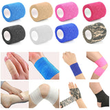 1 Pcs 2.5cm*4.5m Health Care Treatment Gauze Tape Self-Adhesive Elastic Bandage First Aid Medical camping tools survival kit