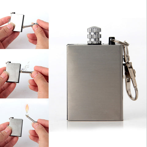 Stainless Steel Lighter Emergency Fire Starter Flint Match Lighter Outdoor Camping Survival Tool Safety Match Flint Fire Starter
