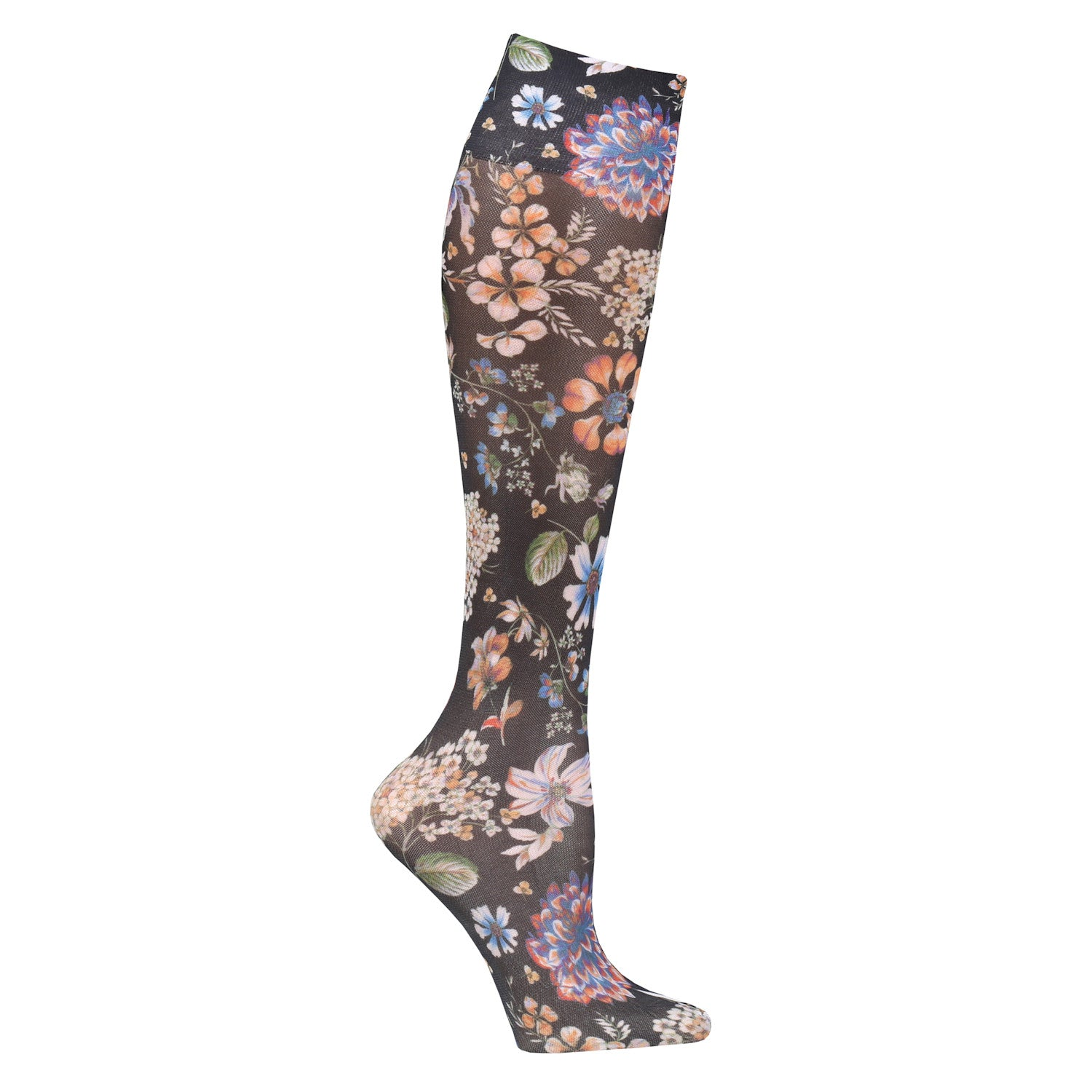 Celeste Black Praire Flowers Trouser Sock