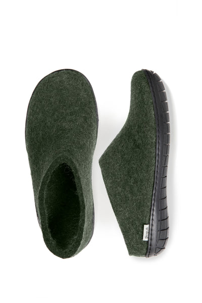 Glerups Slip on - Black Rubber Sole - Forest