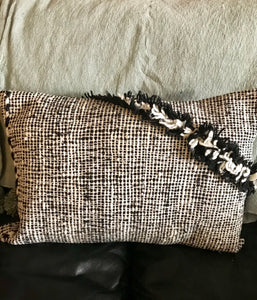 Cushion Black & White Moroccan Textured Cushion