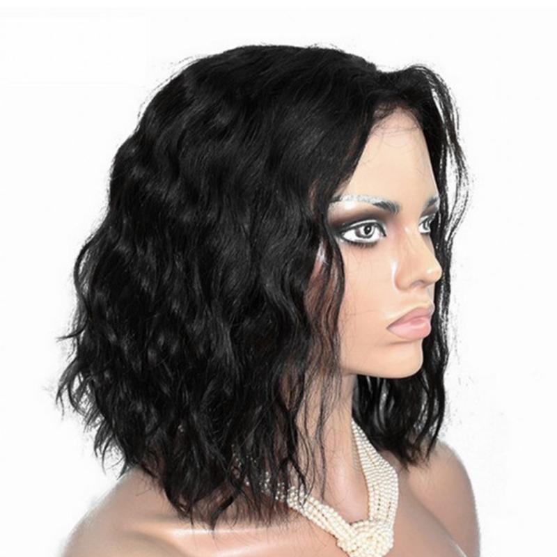 9005d063d46 Human hair New Fashion Water Wave Black 14 Inches Women Wig