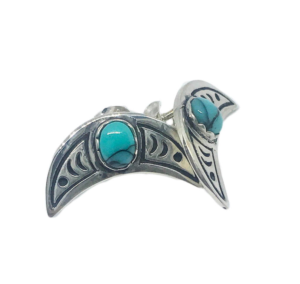 Luna Moon Turquoise Studs- Silver