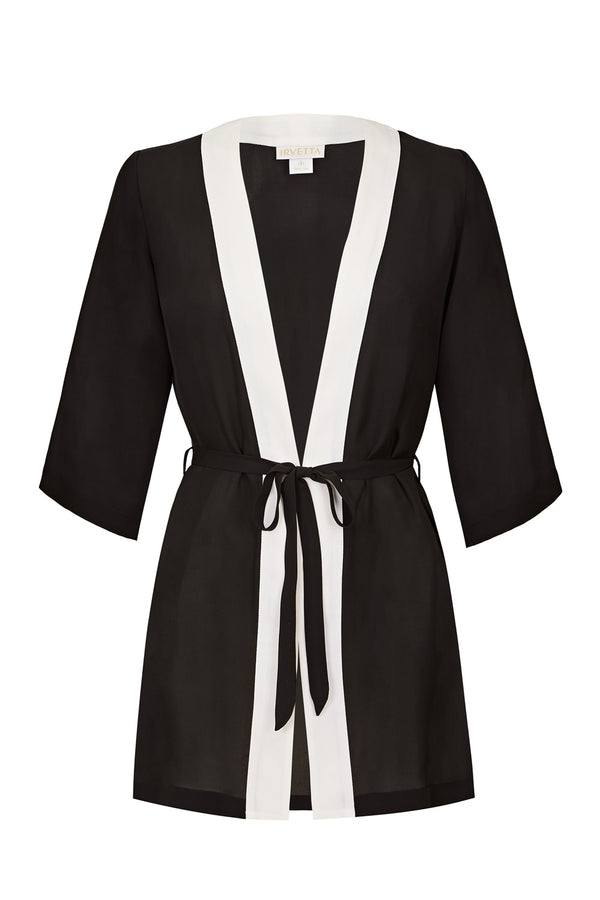 Selene Silk Kimono - Black and White