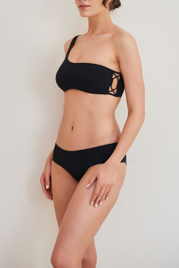 Scylla One Shoulder Bandeau - Black