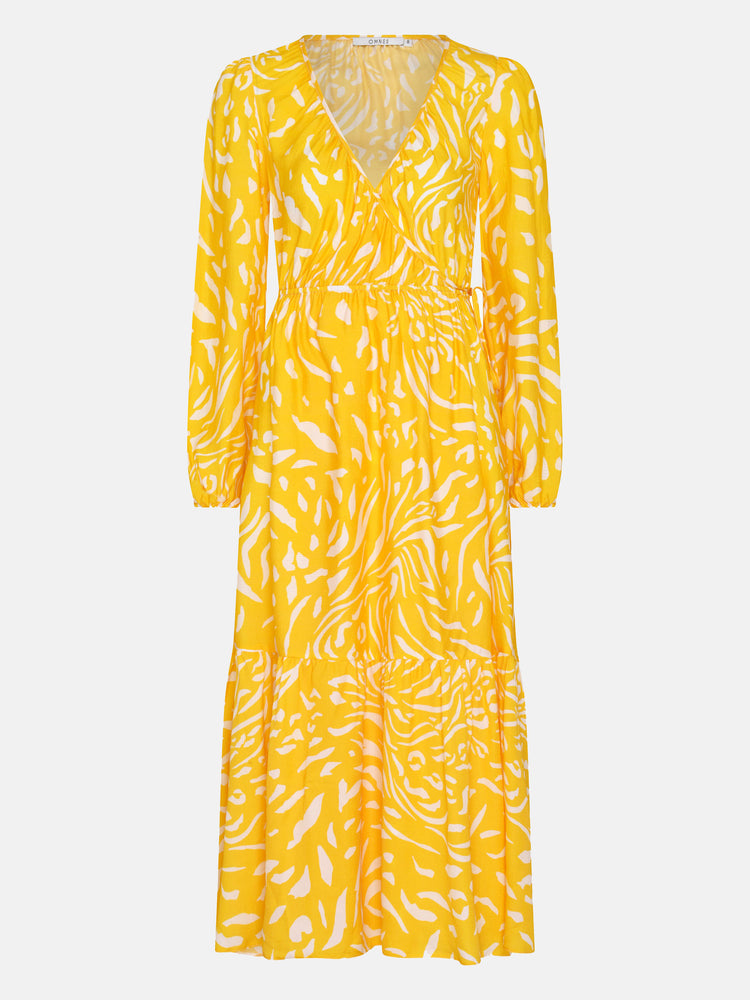 FSC Viscose Portobello Wrap Midi Dress in Yellow Animal Print