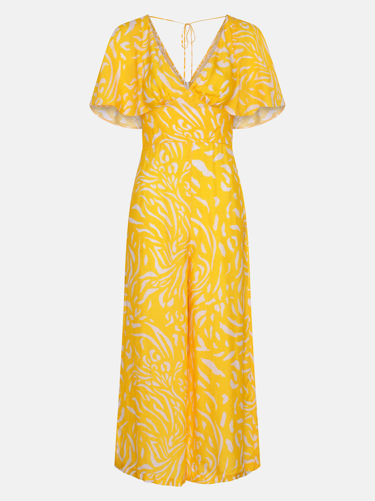 FSC Viscose Angel Sleeve Jumpsuit in Yellow Animal Print
