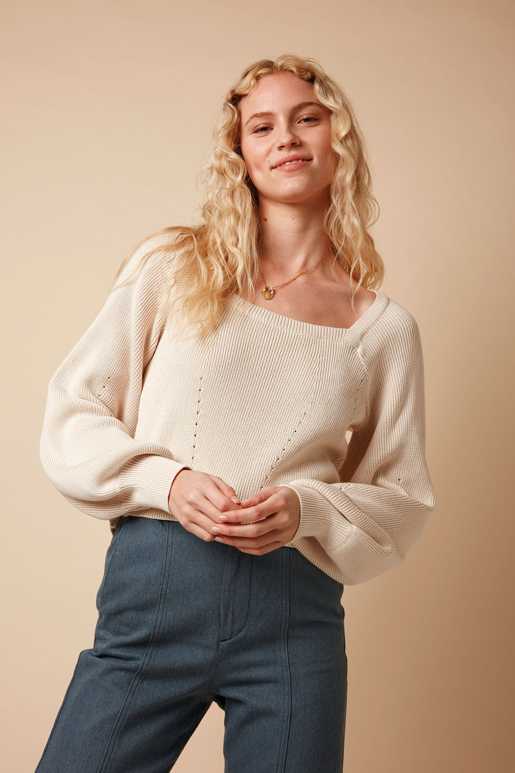 Organic Cotton Puff Sleeve Square Neck Knitted Jumper in Cream