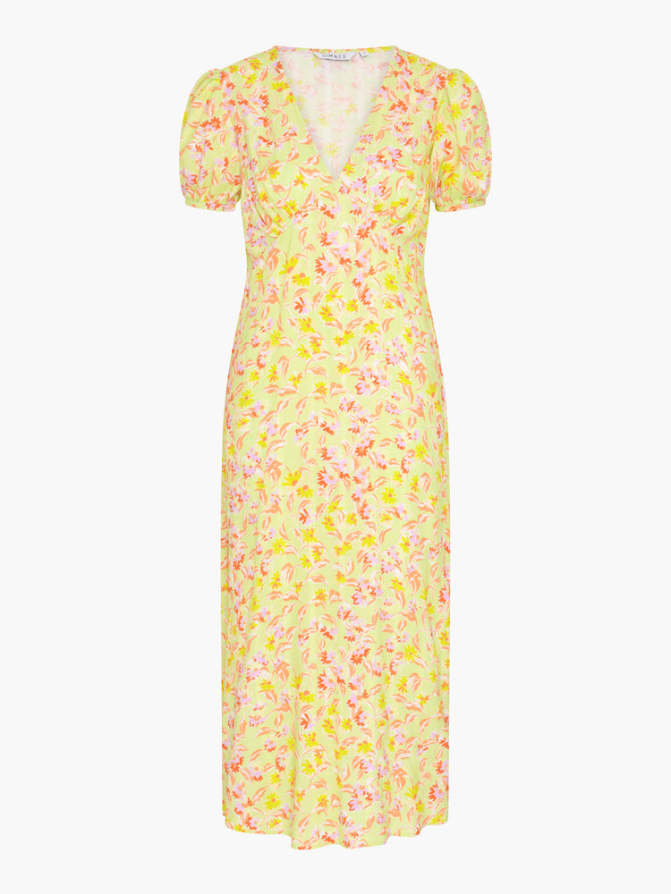 Adele Puff Sleeve Midi Tea Dress in Lime Daisy