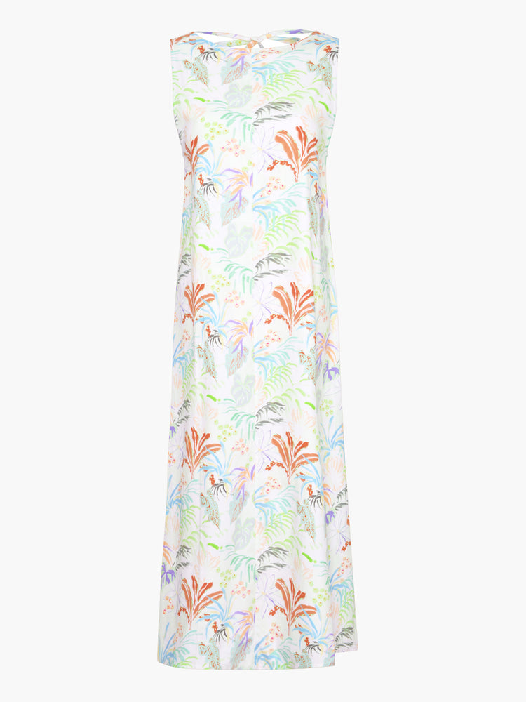 BCI Cotton Tie Back Midaxi Dress in Rainforest Leaf Print