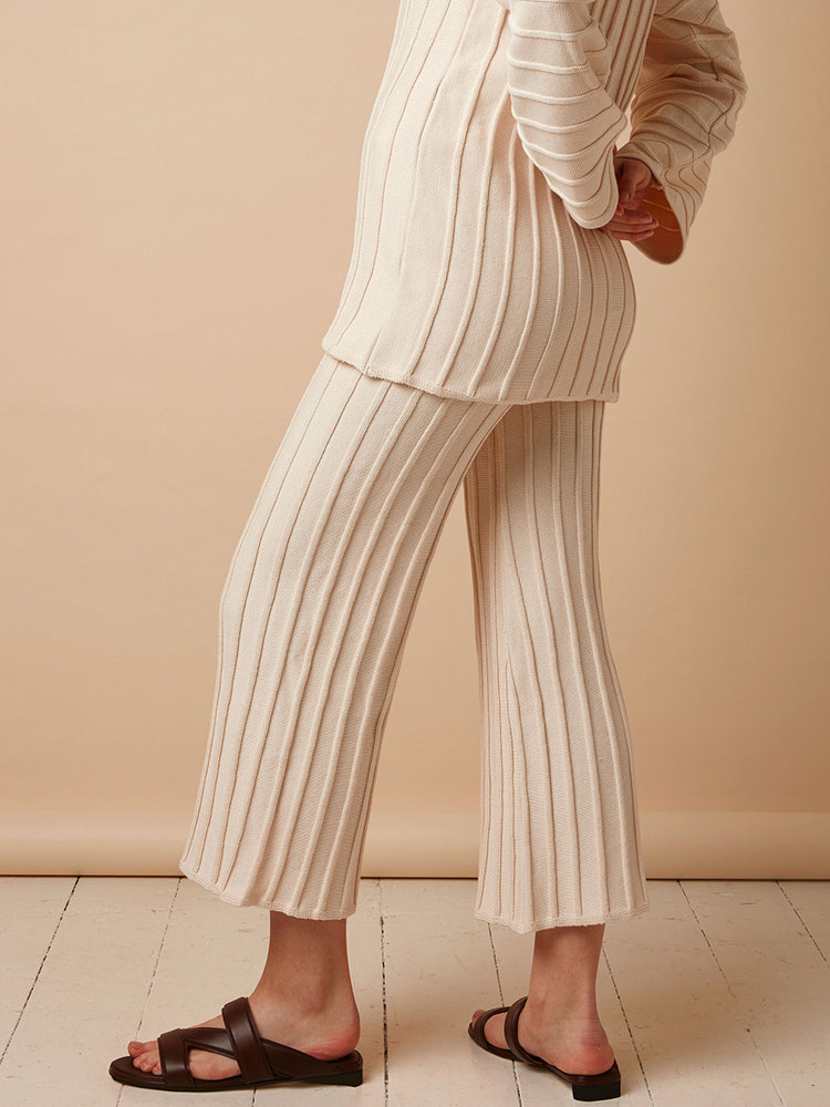 Rib Knitted Wide Leg Trousers in Cream