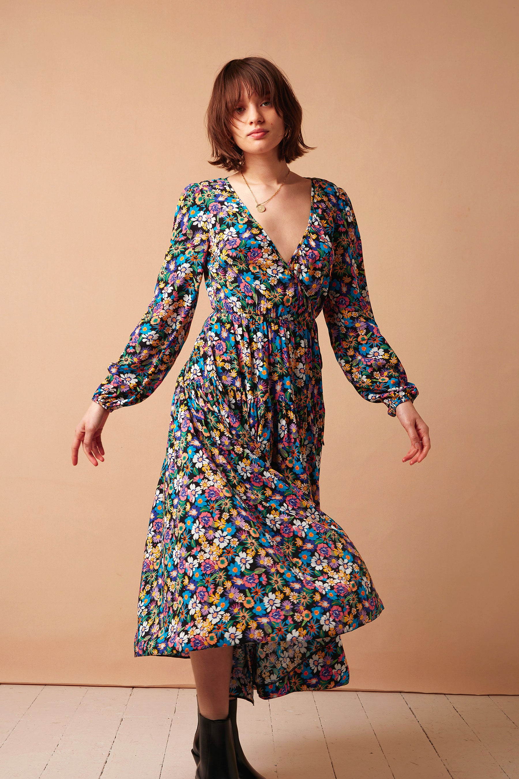 FSC Viscose Multicoloured Floral Portobello Wrap Midi Dress