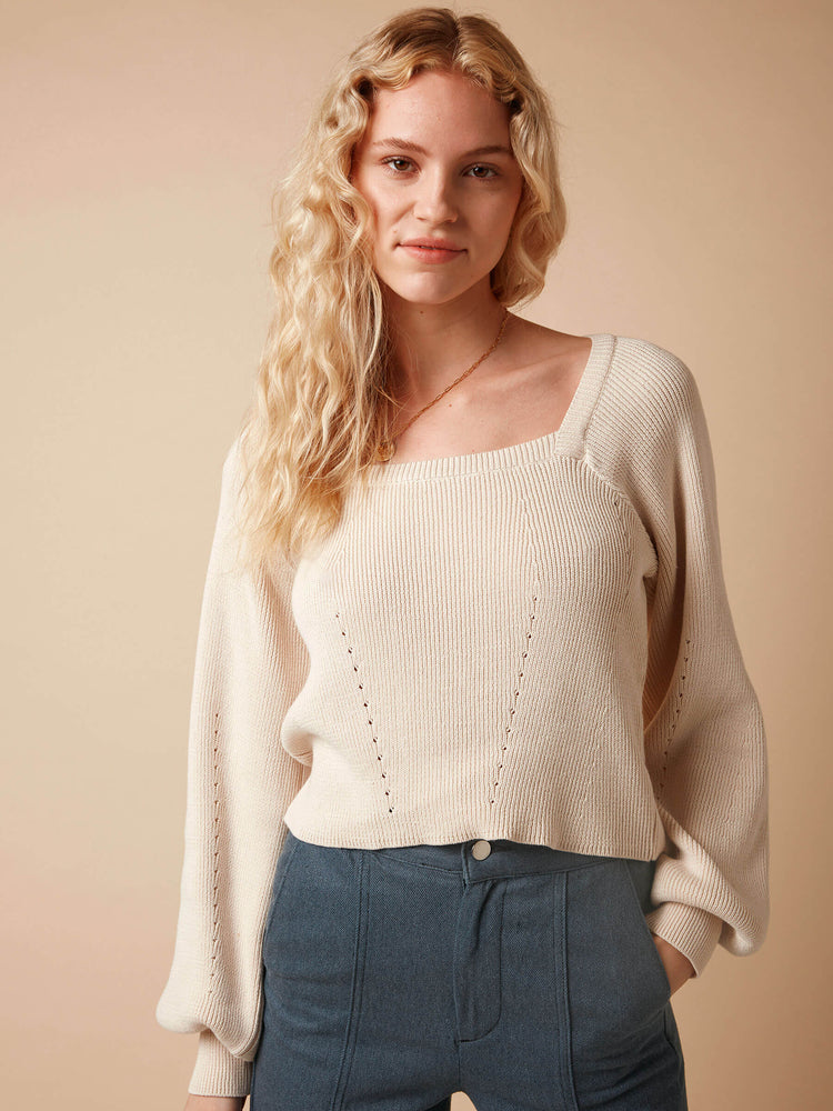 Puff Sleeve Square Neck Knitted Jumper in Cream