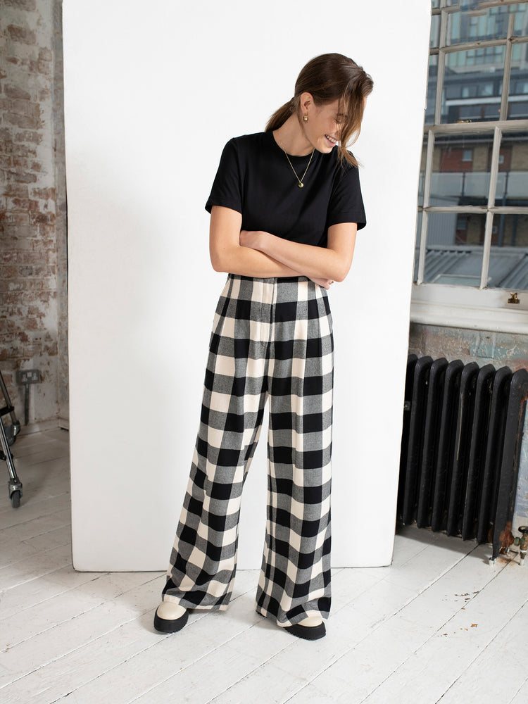 Organic Cotton High Waist Wide Leg Trousers in Gingham Check